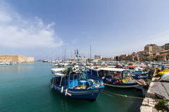 Heraklion Harbor with Fortress and Boats (Crete, Greece) Stock Images