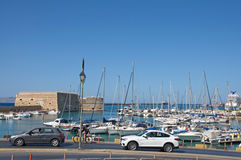 Heraklion harbor and Venetian Fortress (Koules) and modern marine, Crete Royalty Free Stock Image