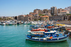 Heraklion harbour. Crete, Greece. Boats in the old port of Heraklion. Crete, Greece, Europe Royalty Free Stock Image
