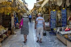 Heraklion Kreta/Grekland Den traditionella centrala marknaden i Heraklion arkivbilder