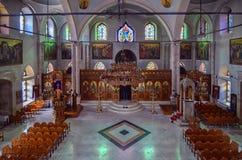 Heraklion, Kreta/Griekenland: De tempel van Agios Titos is een Orthodoxe kerk in Heraklion, Kreta, gewijd aan Heilige Titus stock foto's