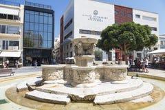 Heraklion, Lion Fountain o también fuente de Morozini en los leones cuadrados crete imagen de archivo libre de regalías