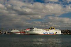 HERAKLION - noviembre de 2017: Trazador de líneas de la travesía en el puerto de Heraklion, Creta, Grecia Foto de archivo