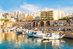 Heraklion old port daylight clear colors summer crete greece royalty free stock photos