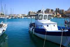 Heraklion port and venetian harbour in island of Crete, Greece royalty free stock photography