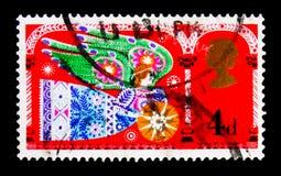 Herald Angel, Natale 1969 - serie religioso tradizionale di temi, circa 1969 Immagini Stock Libere da Diritti