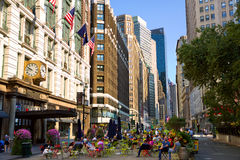 Herald Square and Broadway. New York, New York, USA - September 11, 2016: Herald Square and intersection Broadway, 34th Street and 6th Avenue with pedestrians Stock Image