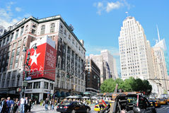 Herald Square in New York City. The intersection of Broadway and 34th Street in New York City, known as Herald Square, is a bustling shopping district that's Stock Image