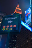 Subway and Broadway sign and Empire State Building Stock Image