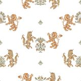 Heraldic картина единорога и льва безшовная Стоковое Изображение RF