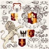 Heraldic комплект элементов дизайна вектора в винтажном стиле Стоковое Фото