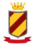 Heraldic наградная качественная квартира эмблем установила с королевскими символами традиций Стоковые Фото