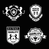 Heraldic наградные качественные эмблемы установили с королевским вектором символов традиций Стоковое Изображение RF