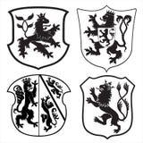 heraldic силуэты экранов львов Стоковые Изображения