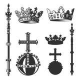 Heraldic символы, комплект монарха также вектор иллюстрации притяжки corel иллюстрация вектора