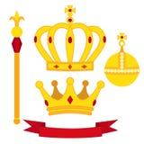 Heraldic символы, комплект монарха Королевская комбинация традиций в плоском стиле иллюстрация вектора
