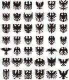 Heraldic установленные силуэты орлов Стоковая Фотография RF