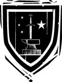 Heraldic шпага и наковальня экрана Стоковая Фотография
