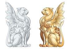 Heraldic львица иллюстрация штока