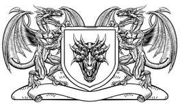 Heraldic эмблема экрана дракона герба гребня иллюстрация штока