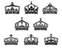 Установленные кроны короля и ферзя heraldic Стоковое Изображение