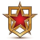 Heraldic шаблон вектора с золотой звездой, экраном Стоковая Фотография