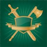 Heraldic. Vector heraldic pattern on dark green background Stock Photo