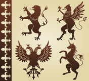 Heraldic animals. Silhouettes - illustration stock illustration