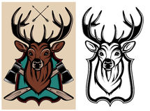 Heraldic animals deer color and monochrome Royalty Free Stock Photography