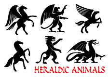 Heraldic animals emblems and icons Royalty Free Stock Photography