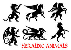 Heraldic animals emblems silhouette elements. Heraldic animals icons. Pegasus, Griffin, Dragon, Lion, Horse, Unicorn outline silhouettes for tattoo, heraldry or Stock Photos