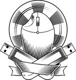 Heraldic arms with the computer mouse. The heraldic arms with the computer mouse, CD and USB-flash. Black and white vector illustration Royalty Free Stock Photo
