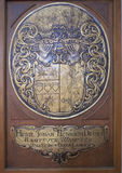 Heraldic bas-relief. Historical heraldic bas-relief in cathedral of Lubeck, taken in July 2015 Royalty Free Stock Image