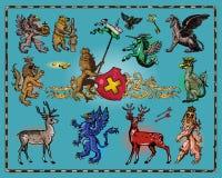 Heraldic beasts. Isolated on dark background Royalty Free Stock Photo