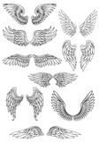 Heraldic bird or angel wings set. Isolated on white for religious, tattoo or heraldry design royalty free illustration