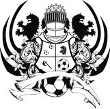 Heraldic black lion tattoo soccer futbol coat of arms. In vector format very easy to edit Stock Photo