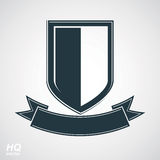 Heraldic blazon illustration, decorative coat of arms. Vector gray defense shield stock illustration