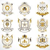 Heraldic Coat of Arms created with vintage  elements, anim. Heraldic Coat of Arms created with vintage elements, animals, towers, crowns and stars. Classy Royalty Free Stock Photo