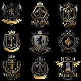 Heraldic Coat of Arms created with vintage vector elements, anim Royalty Free Stock Photos