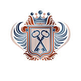 Heraldic coat of arms decorative emblem with cartouche. Empty wi Stock Photo