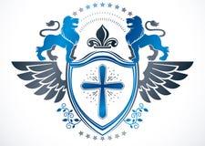 Heraldic Coat of Arms decorative emblem isolated vector illustra Royalty Free Stock Photo