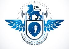 Heraldic Coat of Arms decorative winged emblem, isolated vector Royalty Free Stock Images