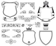 Heraldic coat of arms. Set of black on white heraldic coat of arms designs and decorative graphics royalty free illustration