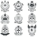 Heraldic Coat of Arms, vintage vector emblems. Classy high quali. Ty symbolic illustrations collection, vector set Stock Image