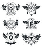 Heraldic Coat of Arms, vintage vector emblems. Classy high quali Royalty Free Stock Photos