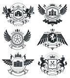 Heraldic Coat of Arms, vintage vector emblems. Classy high quali Royalty Free Stock Photography