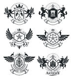 Heraldic Coat of Arms, vintage vector emblems. Classy high quali Royalty Free Stock Images