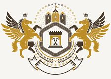 Heraldic Coat Of Arms Decorative Emblem Isolated Vector Illustration Created Using Graceful Pegasus And Ancient Tower. Royalty Free Stock Images