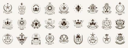 Free Heraldic Coat Of Arms With Crowns And Stars Vector Big Set, Vintage Antique Heraldic Badges And Awards Collection, Symbols In Royalty Free Stock Image - 177607236