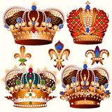 Heraldic collection of vector colored crowns decorated by stones Royalty Free Stock Photos